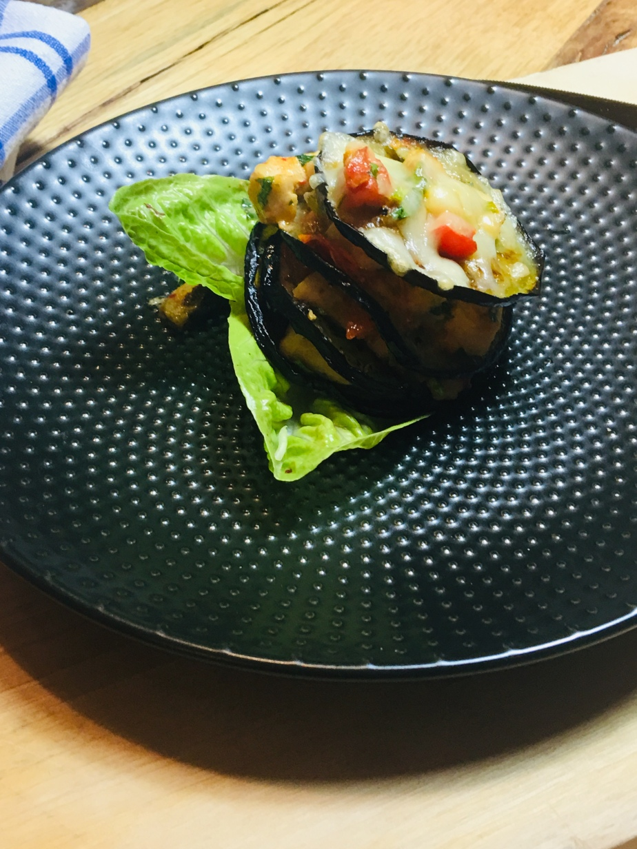 Auberginen Türmchen/Hähnchen PaprikaFüllung