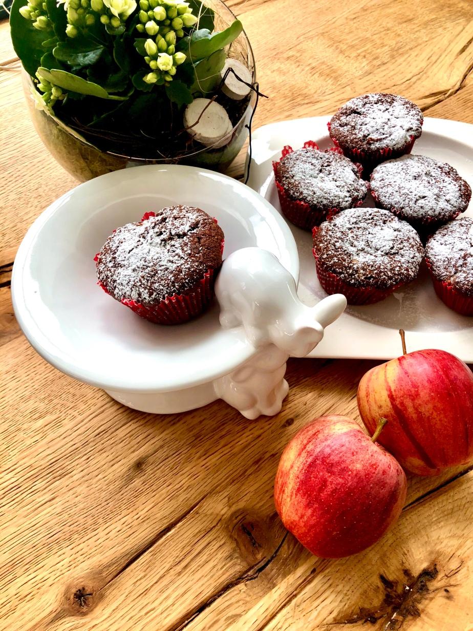 Apfel Schoko Muffins mit KaramellDrops